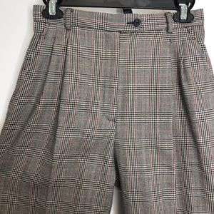 VINTAGE Plaid High Waisted Pleated Front Trousers